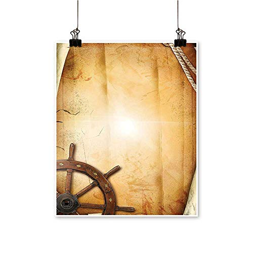 "1 Piece Wall Art Painting Illustration of Steering Wheel on Old Antique Paper Historic Traveling Maritime Art Living Room Office Decoration,16""W x 28""L/1pc(Frameless) from painting-home"