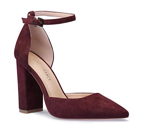 SUNETEDANCE Women's Ankle Strap Heels Block Heel Pointed Toe Pumps Sexy Elegant Sandals Comfort Classic High Heels Office Business Shoes Suede Wine Pump 10 M US