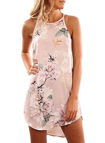Asvivid Women's Summer Halter Neck Floral Print Sleeveless Casual Beach Cover up Dress Medium Pink