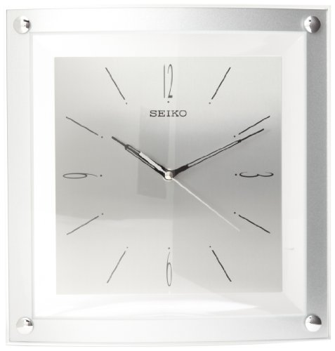 Clock Crystal Seiko - Seiko Wall Clock Quiet Sweep Second Hand Clock Silver-Tone Metallic Case