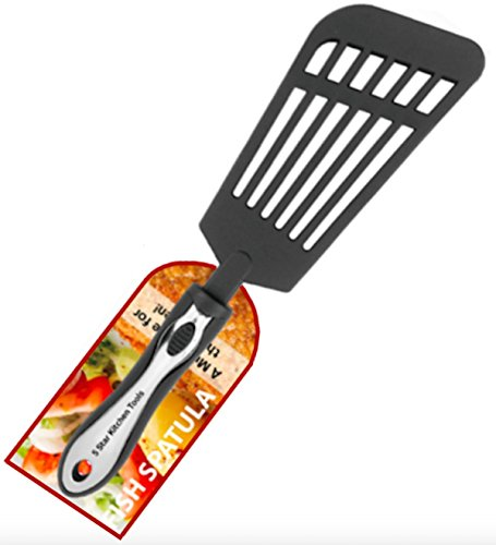 Fish Spatula, Large Multi-purpose Slotted Nylon Turner, for use with Stainless Steel and Non-stick Cookware, from 5 Star Kitchen Tools