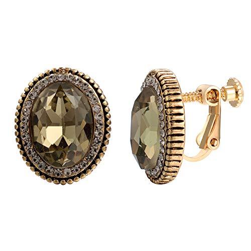 - Yoursfs Vintage Clipon Earrings for Women Grey Rhinestone Round Screwback Earrings