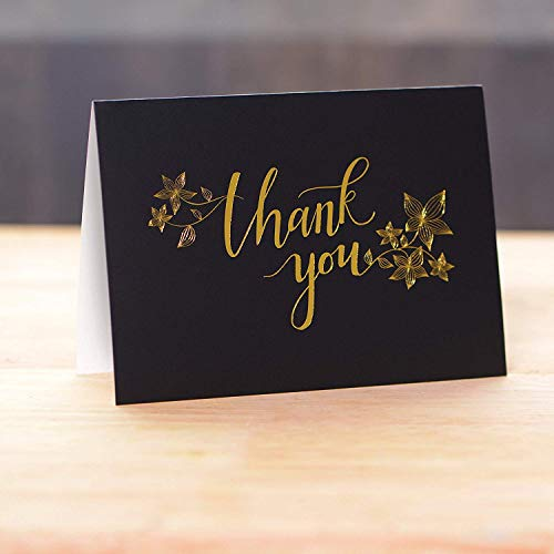 50 Thank You Cards with Gold Floral Script Black Photo #3