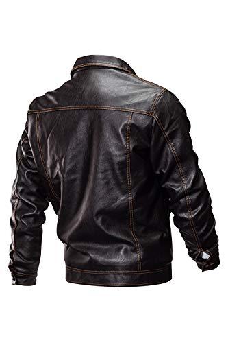 A Viento Engrosado Zilcremo Hombre Prueba Marrón Pu Abrigo De Chaqueta Para Imitación Cuero Terciopelo PzqP4