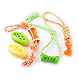 Fluffy Paws 5 Packs Dog Toys, Pet Puppy Teething Chew Set, Durable Non-Toxic Rubber Tug Ropes & Treat Balls, Dental Chew Bite Interactive Training/Chewing/Playing Toy for Small and Medium DogPuppy
