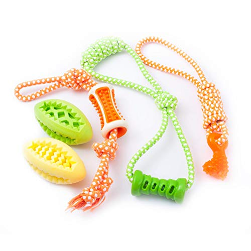 (Fluffy Paws 5 Packs Dog Toys, Pet Puppy Teething Chew Set, Durable Non-Toxic Rubber Tug Ropes & Treat Balls, Dental Chew Bite Interactive Training/Chewing/Playing Toy for Small and Medium DogPuppy)