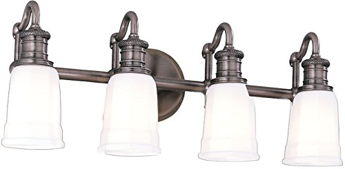 Bradford Bathroom Vanity Light (Hudson Valley 2504-AN, Bradford Glass Energy Star Wall Vanity Light, 4LT, 300 Watts, Nickel)