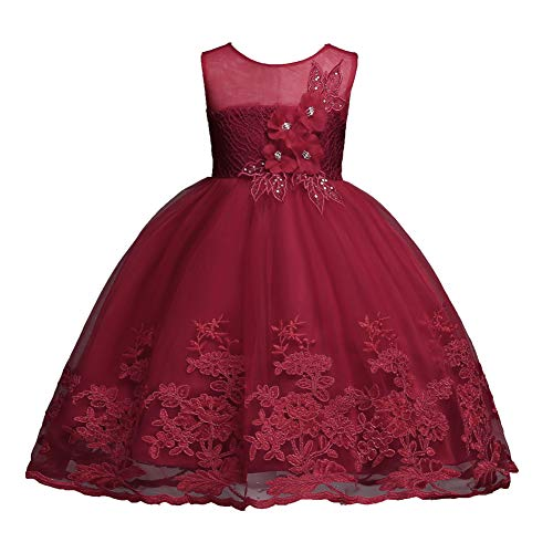 Girls Burgundy Dress 4T 5T Sleeveless Short Lace Pageant Dress for Kids 4 Years Old Flower Wedding Bridesmaid Frocks for Girls Wine Tulle Special Occasion Dress for Halloween Xmas (Burgundy 120) -