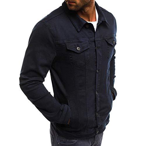 En Blouse Tops Vintage Jean Veste Manteau Marine Homme Automne Malloom Unie Couleur Hiver Bouton dqvwTz