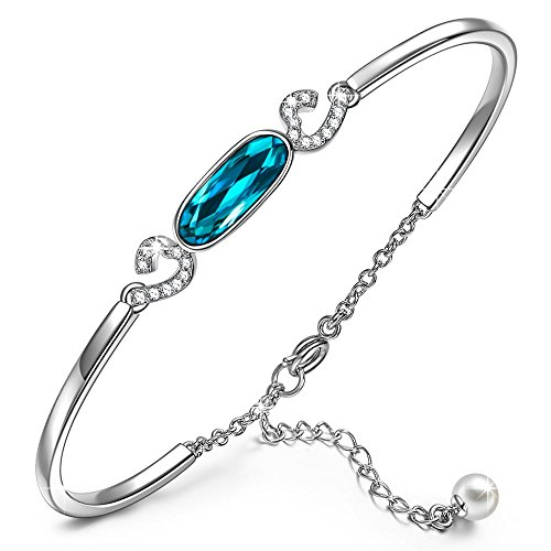 Bermuda Blue Crystal - Bangle Bracelet Jewelry Gifts for Women Girls Her Bermuda Blue Swarovski Crystal KATE LYNN Fall in Love Bangle Bracelet Christmas Anniversary Birthday Gifts for Her Wife Mom Sisters Daughter Kids