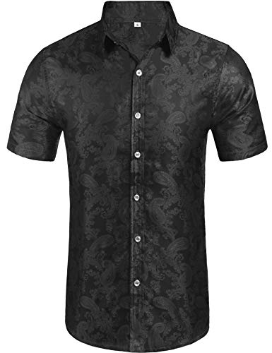 Daupanzees Mens Paisley Casual Button Down Shirt Fashion Luxury Casual Traditional Tailored Slim Fit Stylish Short Sleeve Dress Shirts (Black L)