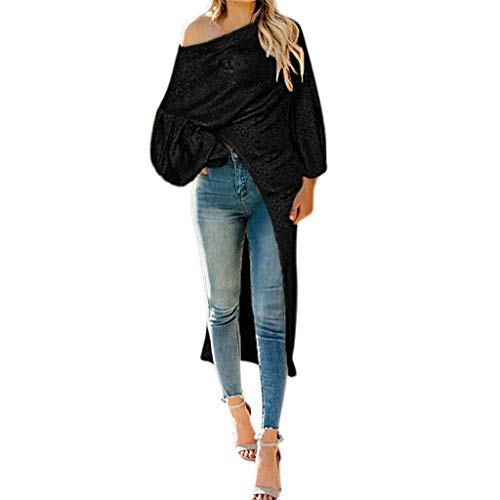 POQOQ Women Solid Slash Neck Long Sleeve Off Shoulder Bodycon Open Fork Mini Dress(Black,L)