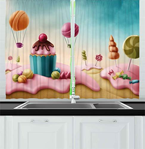Ambesonne Girls Room Decor Kitchen Curtains, Fantasy Candyla