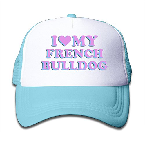 WH&SY I Love My Frence Bulldog Children Mesh Trucker Cap Adjustable Fashion Kids Mesh Snapback Hat Fashion Baseball Hat SkyBlue