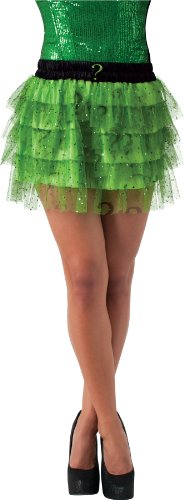Secret Wishes  DC Comics Justice League Superhero Style Adult Skirt with Sequins The Riddler, Green, One Size (Riddler Costumes Women)