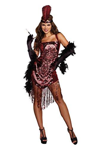 [Dreamgirl Women's Gatsby Girl 1920's Flapper Costume, Burgundy, Medium] (Flapper Girl Halloween Costumes)