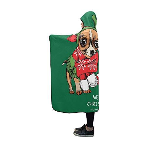 RYUIFI Hooded Blanket Christmas Card Puppies Pug Chihuahua Xmas Blanket 60x50 Inch Comfotable Hooded Throw Wrap