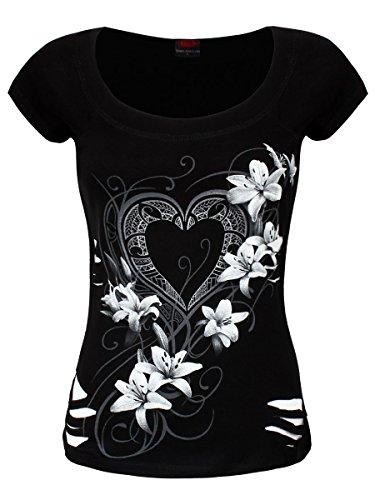 Spiral T-Shirt 2en1 Coeur Pur Femme Noir