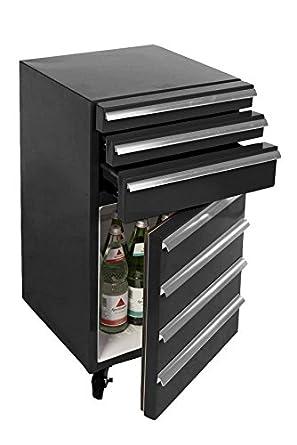 Mini Kühlschrank Für Getränke Im Retro Werkstattwagen Look Schwarz