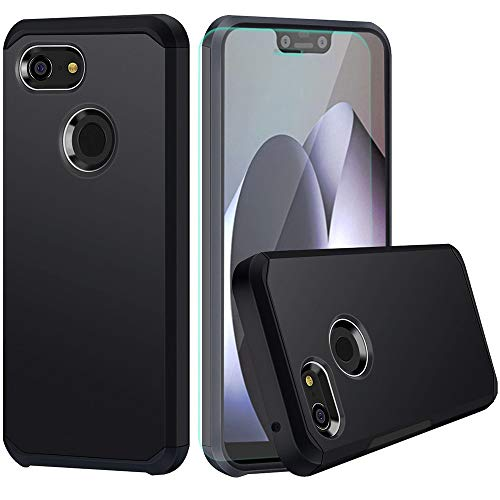 Google Pixel 3 XL Case With HD Screen Protector Slinco Dual Layer Hybrid Shock Proof Protective Rugged Wireless Charging Designed for Google Pixel 3 XL (2018)(Black)
