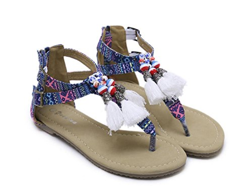 Las Moldeados Borla la étnicas Zapatos de señoras Moda de Azul Muchachas Zapatos Las étnicos sangran Bohemias los Mujeres Zapatos Planos Las para de la caseros DANDANJIE de qHz6cw