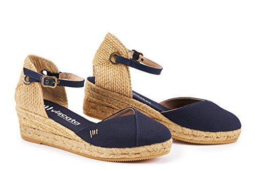 Made Spain da Viscata classiche punta in alla Pubol con con Navy Espadrillas caviglia Blu chiusa cinturino 5 e zeppa cm 77ATqwxZ