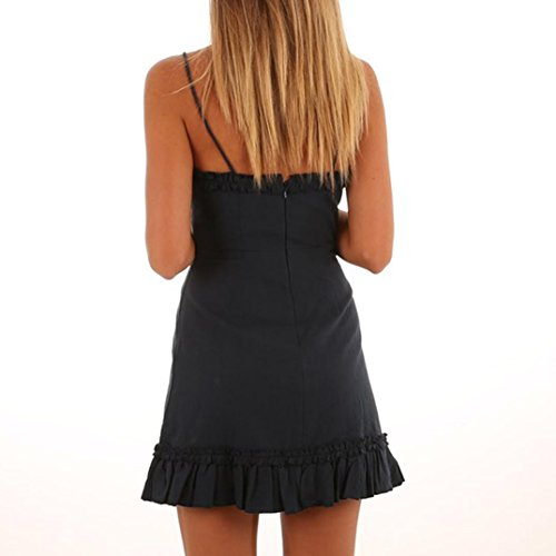 Robe Longue Femme Ete Boheme Plage Printemps Robe Chic Retro ?rmellos Falten Rschen Minikleid Camisole Backless Party Dress Black