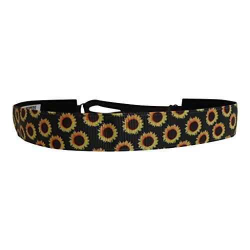 BEACHGIRL Bands Headband Adjustable Non-Slip Fitness Headband For Women & Girls Sunflower Farm Black by BEACHGIRL