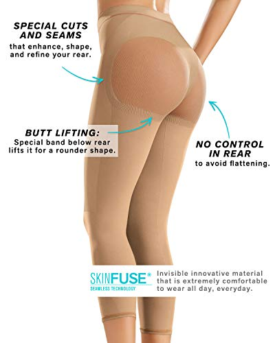 90574526ca9 Leonisa Invisible High Waisted Super Comfy Compression Tummy Control  Slimming Capri Shaper Leggings