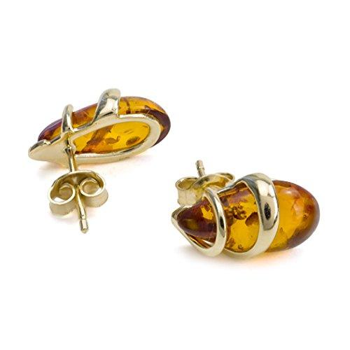 Miel Ambre Boucles d'oreilles clous d'or jaune 14K