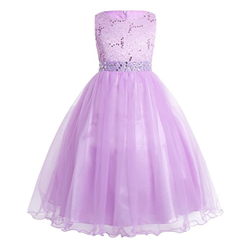 (YiZYiF Kids Sequins Rhinestone Belt Embroidered Communion Pageant Wedding Party Flower Girls Dresses Lavender)