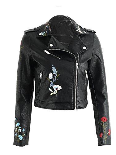 Leather Biker Short Lapel Simplee Jacket Women's Embroidered Outwear Apparel Black Faux SqWwU6AS
