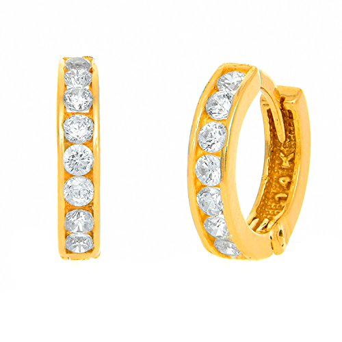 JewelStop 14K Solid Yellow Gold Huggie Hoop CZ Channel Set Earrings - 2.5x12mm, 1.43gr.