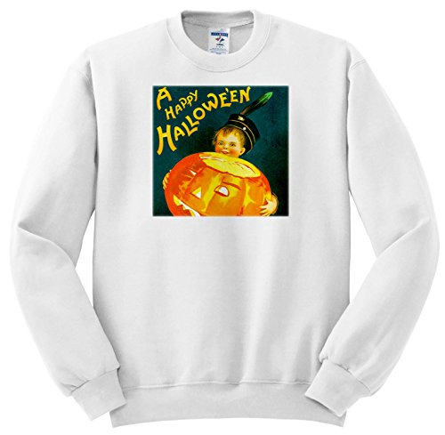 Scenes From The Past ephemera - A Happy Halloween Vintage Holiday Postcard Early 1900s - Sweatshirts - Youth Sweatshirt XS(2-4) (SS_269790_9)