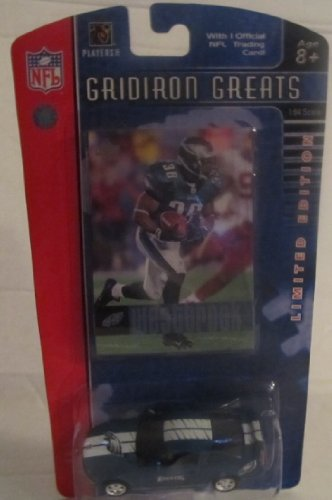 2006 Upper Deck Gridiron - Upper Deck 2006 Gridiron Greats Brian Westbrook of the Philadelphia Eagles NFL Trading Card And Die Cast Mustang GT With Eagles Decorations