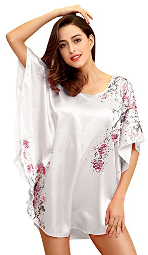 Bellady Sexy Women's Plus Size Short Batwing Sleeve Nightgown,White (Womens Short Silk Nightgowns)