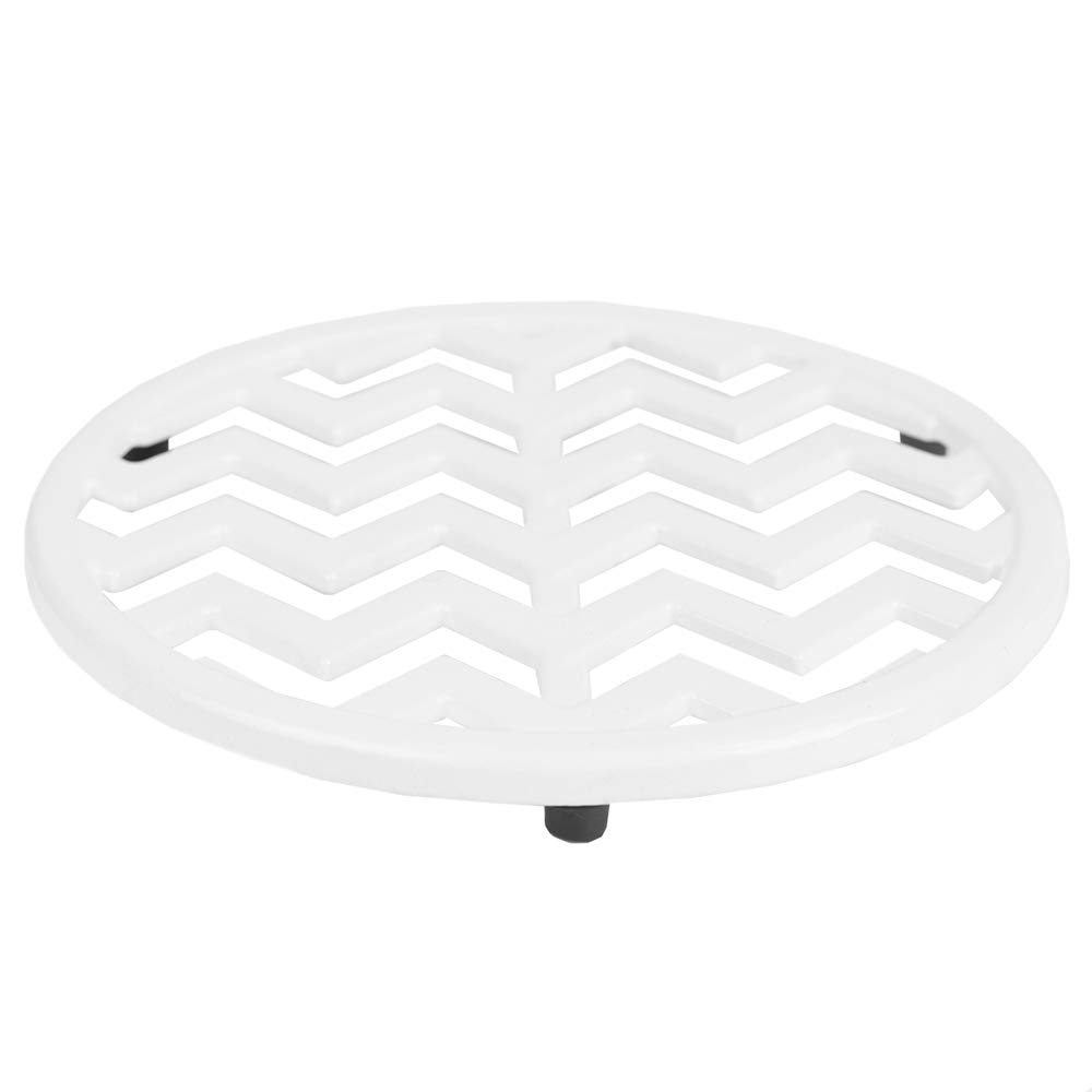 Home Basics Pans Chevron Collection Cast Iron Trivet for Serving Hot Dish, Pot, Pans & Teapot on Kitchen Countertop or Dinning Table-Heat Resistant