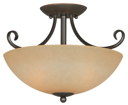 Hardware House 543769 Berkshire 14-1/2-Inch by 10-Inch Ceiling Light Fixture, Classic Bronze - smallkitchenideas.us