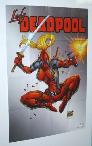 Lady Deadpool 36 by 24 inch Marvel Universe comic book shop promotional promo poster (3 by 2 feet): Art by Rob Liefeld
