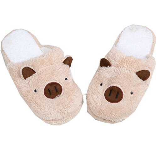 Elevin(TM)Women Men Soft Warm Indoor Plush Cotton House Couple Slippers Home Anti-slip Shoes Coffee wzOJBuQz