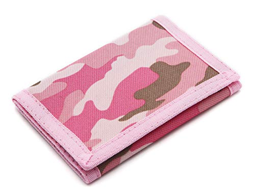 (RFID Trifold Canvas Outdoor Sports Wallet for Kids - Front Pocket Wallet with Magic Sticker (Pink Camouflage) )