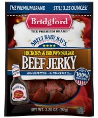 Bridgford Sweet Baby Ray's HICKORY & BROWN SUGAR Beef Jerky, 3.25 oz (PACK OF 4)