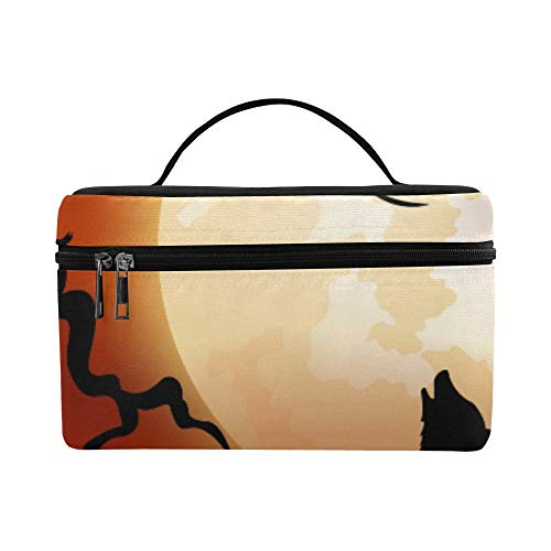 Halloween Night Wolf Pumpkins Owl Moon Pattern Lunch Box Tote Bag Lunch Holder Insulated Lunch Cooler Bag For Women/men/picnic/boating/beach/fishing/school/work]()