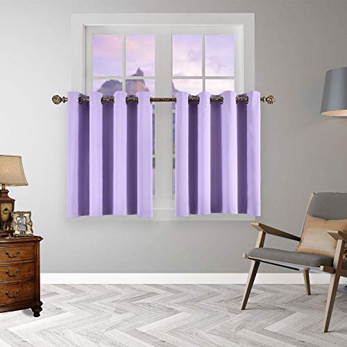 YGO Short Window Curtains 36 inch Kitchen Tiers Valances Thermal Insulated Drapes Blinds Set Match with Curtain Panels 52 W x 36 L Lilac 2 Pieces (Lilac Valance Curtains)
