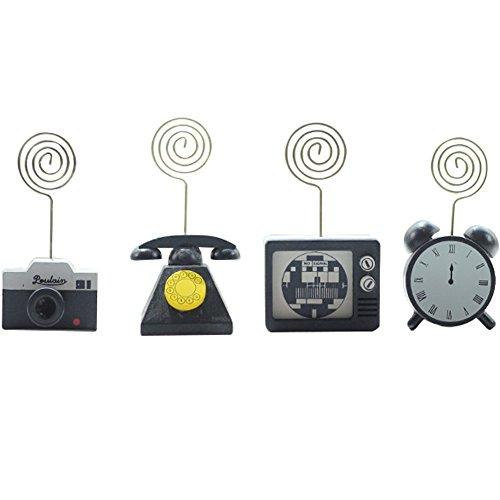 Creative Retro Wooden Clock Telephone Television Camera Memo Photo Note Clip Holder Stand 4PCS -