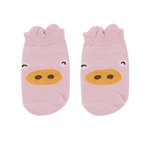 samber algodón dibujos animados tridimensionales animal Party Impresión Niños Calcetines Calcetines de bebé Anti–Skid Calcetines rosa rosa Talla:S rosa
