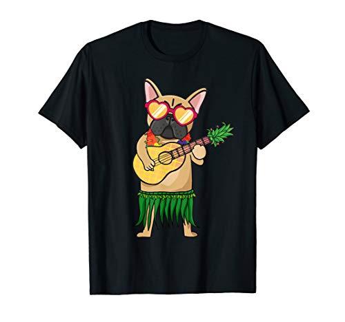 French Bulldog Hawaiian Costume Ukulele Summer Tshirt Gifts