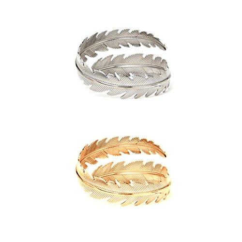 Cuff Bracelet Leaf (Tinksky 2Pcs Swirl Leaf Feather Upper Arm Bracelet Armlet Cuff Bangle Armband Adjustable Christmas Birthday Gift for women (Gold Silver))