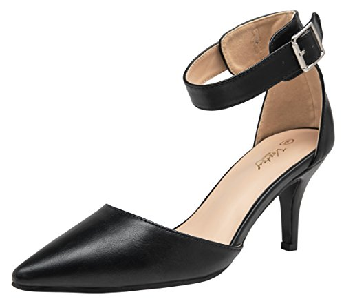Heels Toe Dress Pointed - VOSTEY Women Heels Pointed Toe Low Heel Dress Shoes Ankle Strap Pumps (9,Black Pu)