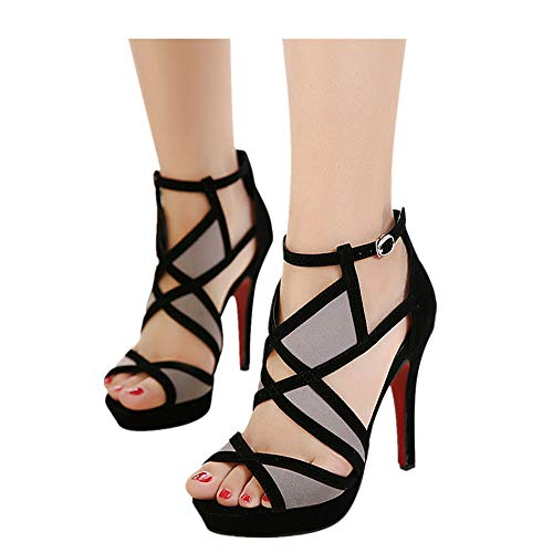 Cut Out Ankle Boots Peep Toe Platform Strappy High Heel Party Prom Pumps Sandals Women (Black, US:5.0) ()
